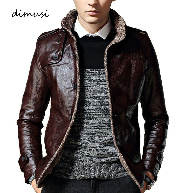 DIMUSI Leather Jacket Men Winter Thick Inner Wool PU Leather Coat Men Casual Thermal Faux Leather Coat Warm Jacket 7XL,8XL,YA706