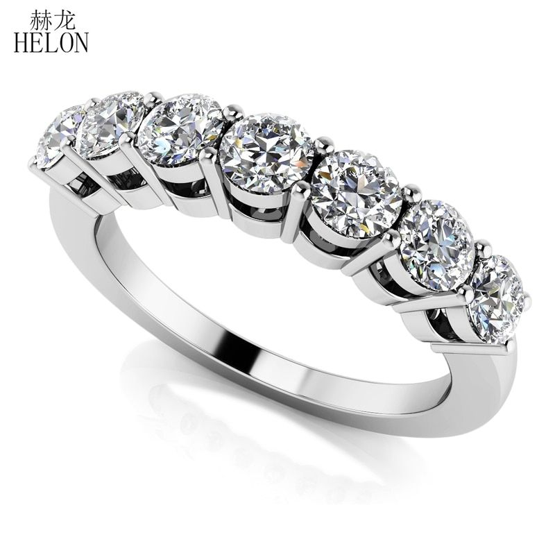 HELON Solid 14K White Gold Moissanites Ring 0.7CT GH Color Engagement RingTest Positive Moissanites Band Diamond Wedding Jewelry