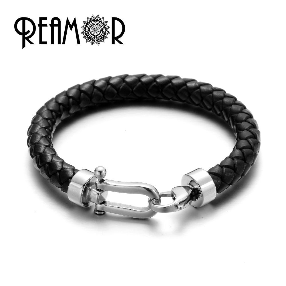 REAMOR Men Genuine Leather Braided Bracelet Bangles 316l Stainless Steel Lucky Horseshoe Lobster Clasp Bracelet Fashion Jewelry