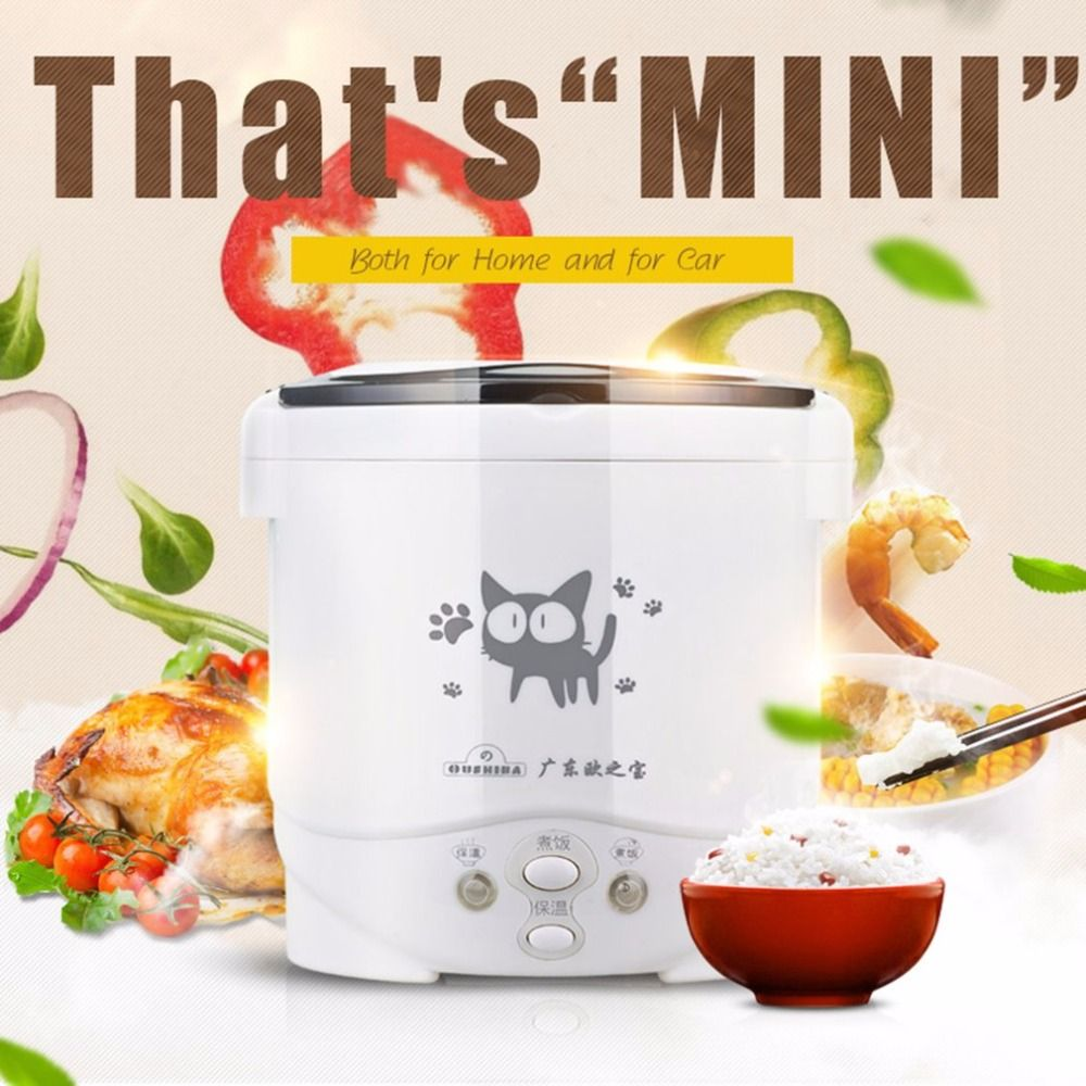 Multi-use Vehicle Electric Rice Cooker 2In1 Function Cook +Steam Auto Rice Cooker 1L Mini Cooker For Rice Soup Porridge Car Use