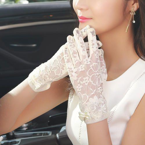 Été parasol court gants femmes conduire perméable à l'air anti-dérapant écran tactile crème solaire glace manches longues gants mince