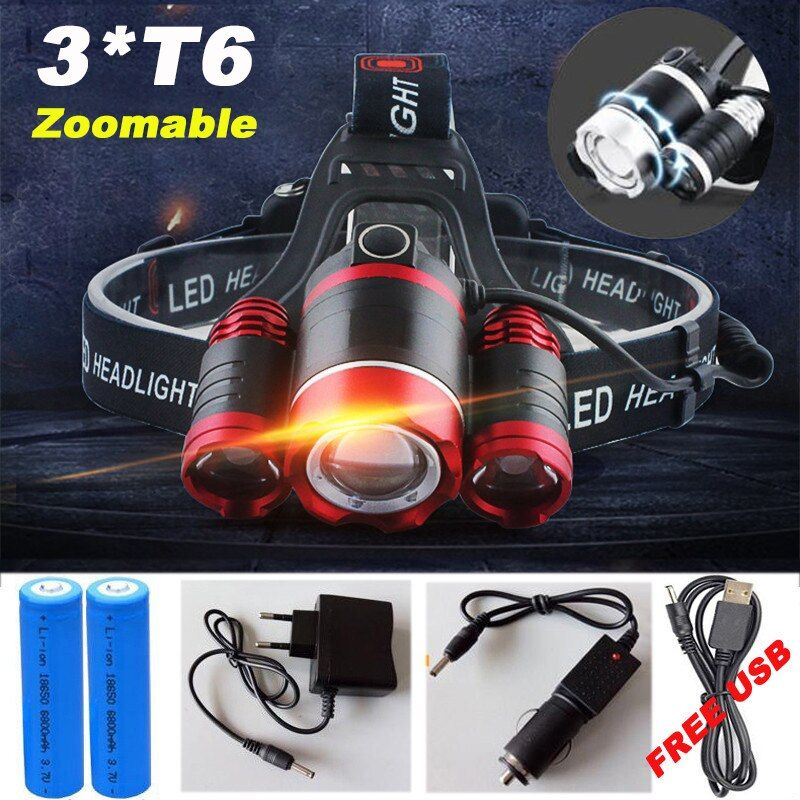 12000 <font><b>Lumen</b></font> Headlight LED CREE XML 3*T6 Zoom Headlamp X900 Flashlight Torch Head Lights Lamp +2*18650 Battery+AC/Car/USB Charger
