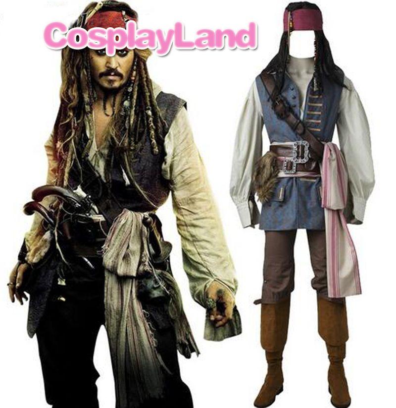 Captain Jack Sparrow Kostüm Cosplay Fluch der Karibik Jack Sparrow Kostüm Erwachsene Männer Maß Halloween Kostüm Anzüge