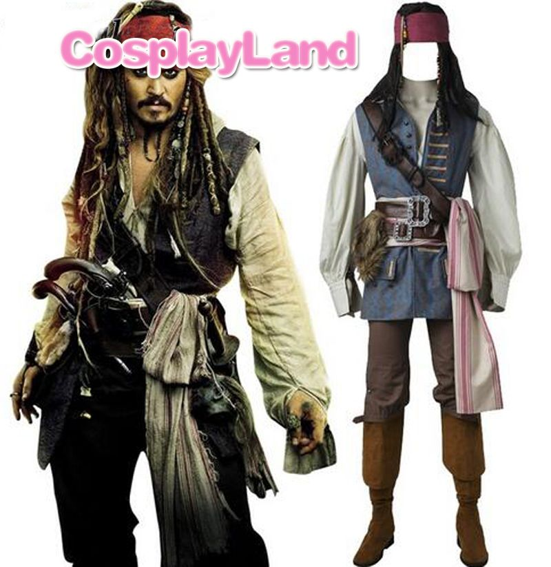Captain Jack Sparrow Costume Cosplay Pirates of the Caribbean Jack Sparrow Costume Adult Men Custom Made Halloween Costume Suits