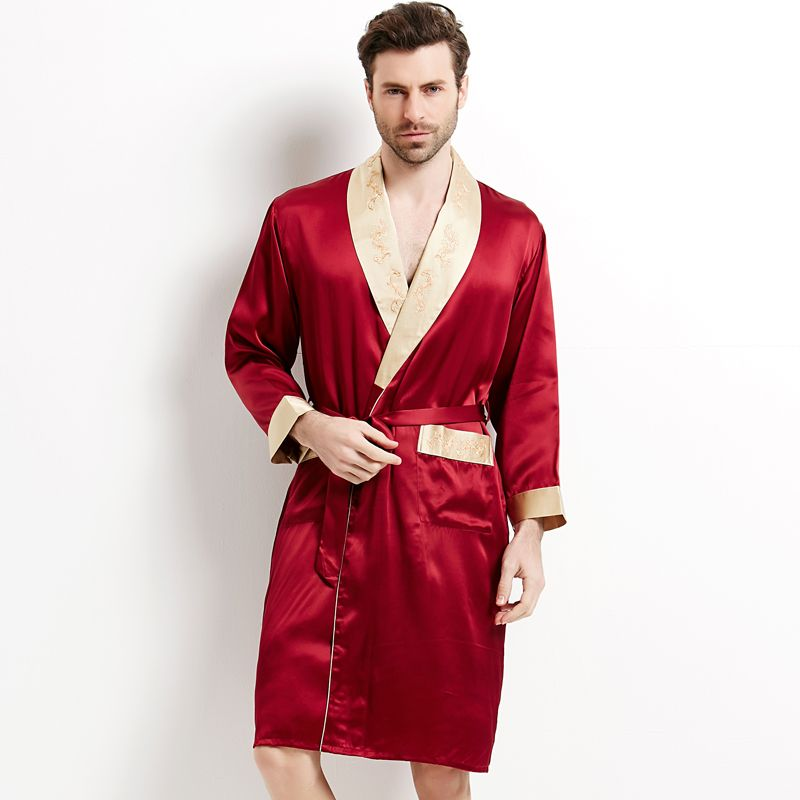 Brand Male Silk Robe Set Long-Sleeve Shorts Men Pyjamas Robe + Pants Set Men's 100% Silk Sleepwear Set Bathing Free Shipping