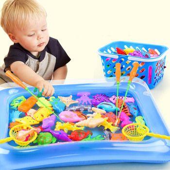Детская 14 шт./компл. Магнитная рыбалка родитель-ребенок интерактивные игрушки игры дети 1 стержень 1 Чистая 12 3D РЫБЫ Детские игрушки для ванн...