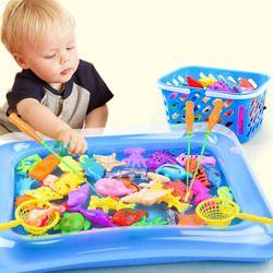 Anak 14 Pcs/set Magnetic Memancing Orang Tua Anak Mainan Interaktif Permainan Anak-anak 1 Batang Bersih 12 3D Ikan bayi Mandi Mainan Outdoor Mainan