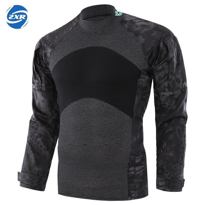 Men Outdoor Hiking O-neck Python T-shirt Military Tactical Long Sleeve Camouflage Shirts Shooting Hunting Clothes For Fishing