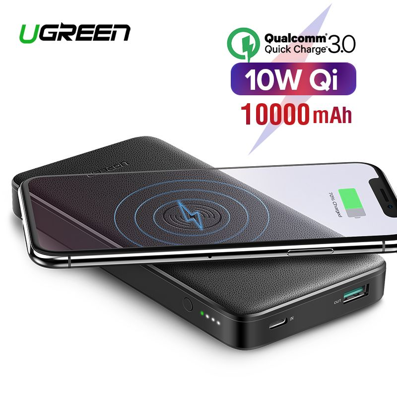 Ugreen Quick Charge3.0 Power Bank 10000mAh Portable 10W Qi Wireless Charger Power Bank for Xiaomi Fast Wireless External Battery