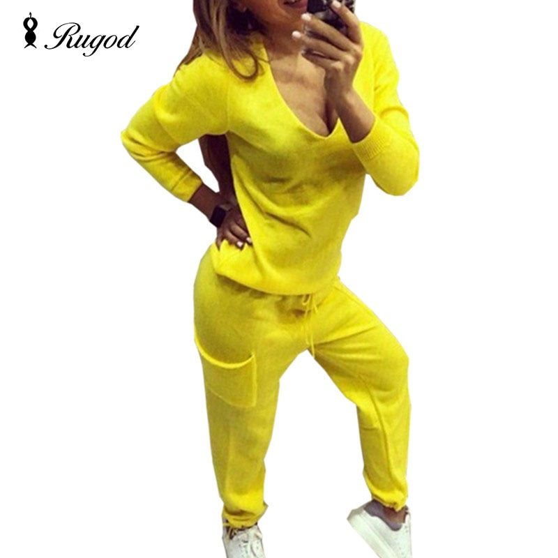 2017 Casual Tracksuit Women 2 Pieces Set Knitted Pullover Sweaters Tops Deep V-neck Long Sleeve Sweatshirt + Pants Women's Sets