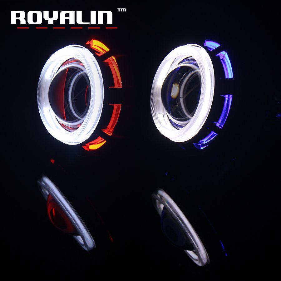 ROYALIN 2.0 Moto Phare Lentille H1 Ampoule CCFL Double Ange Yeux Halo Anneaux Xenon Halogène Projecteur pour Auto Salut/Lo Faisceau H4 H7