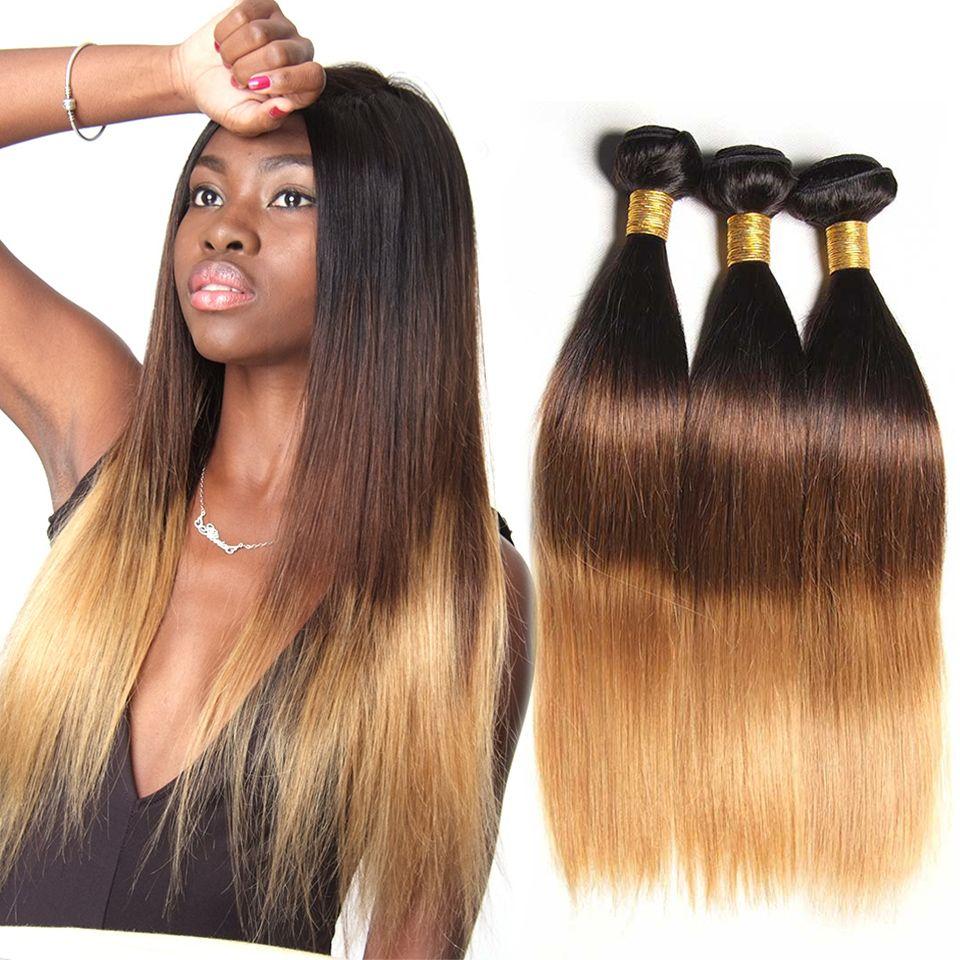 Ombre Brésilien Cheveux Raides Bundles 3 Ton Miel Blonde Ombre Remy de Cheveux Humains Bundles 100% de Cheveux Humains Extension 1B 4/27 (30)