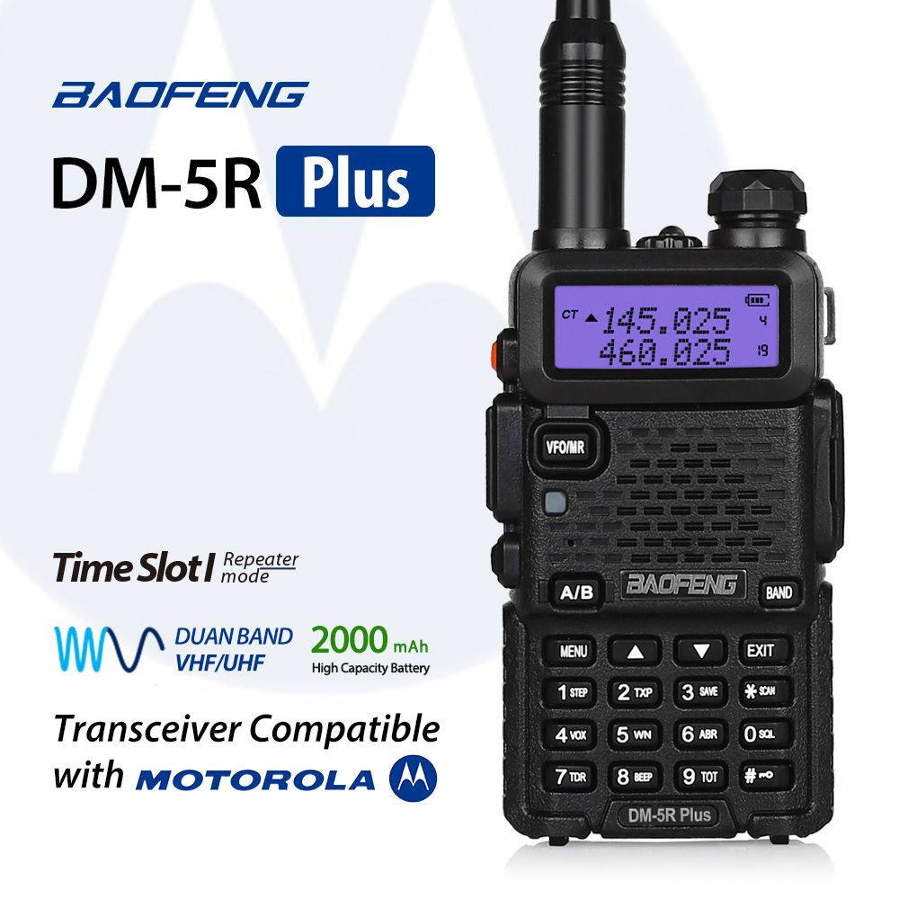 Baofeng DMR Digital Walkie Taklie Transceiver DM-5R Plus Dual Band 1W 5W VHF UHF 136-174/400-480 MHz Two Way Radio 2000mAH
