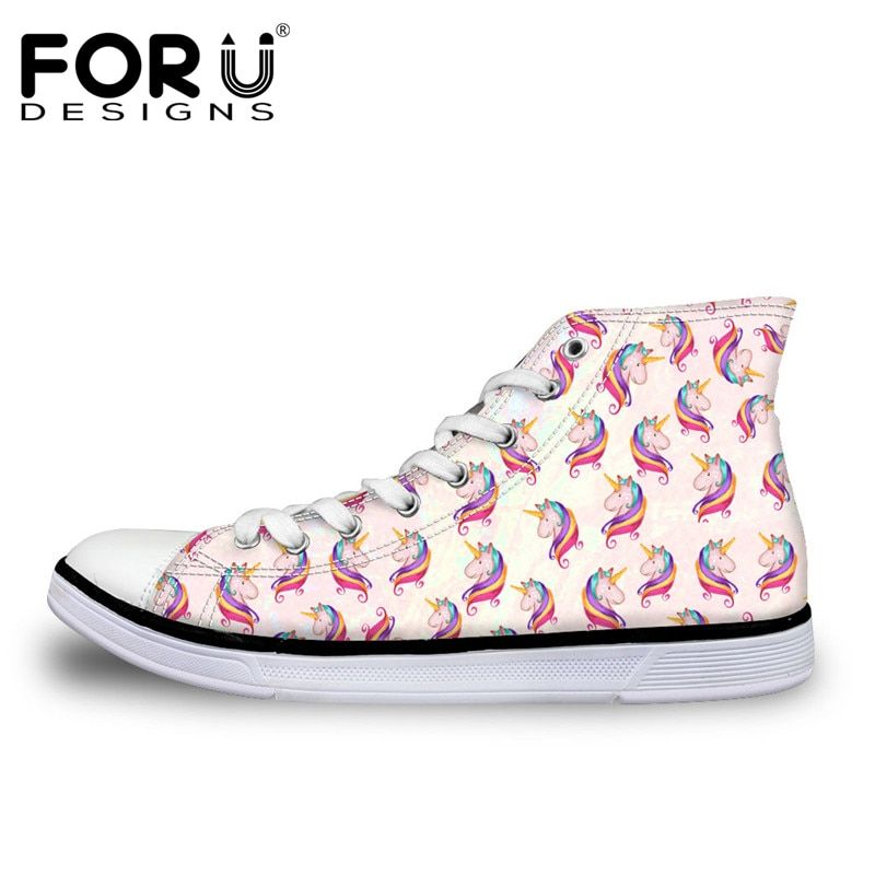 FORUDESIGNS Hot Sale 3D Horse Design Women Vulcanize Shoes Classic High Top Shoes for Ladies Flats Female Canvas Casual Shoes