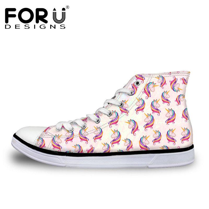 FORUDESIGNS Hot Sale 3D Unicorn Design Women Vulcanize Shoes Classic High Top Shoes for Ladies Flats Female Canvas Casual Shoes