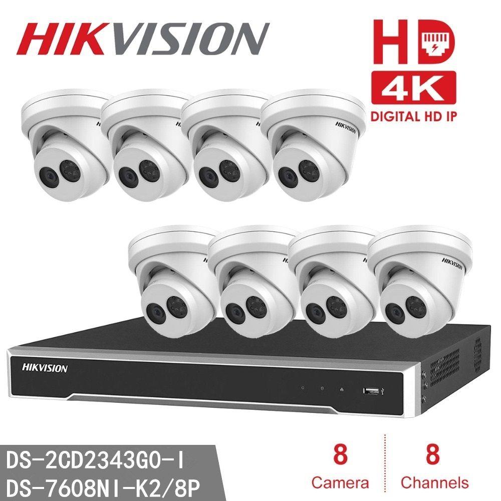 Hikvision NVR DS-7608NI-K2/8 P Home Security CCTV + 8 stücke Hikvision DS-2CD2343G0-I 4MP WDR EXIR Revolver Kamera (DS-2CD2342WD-I)