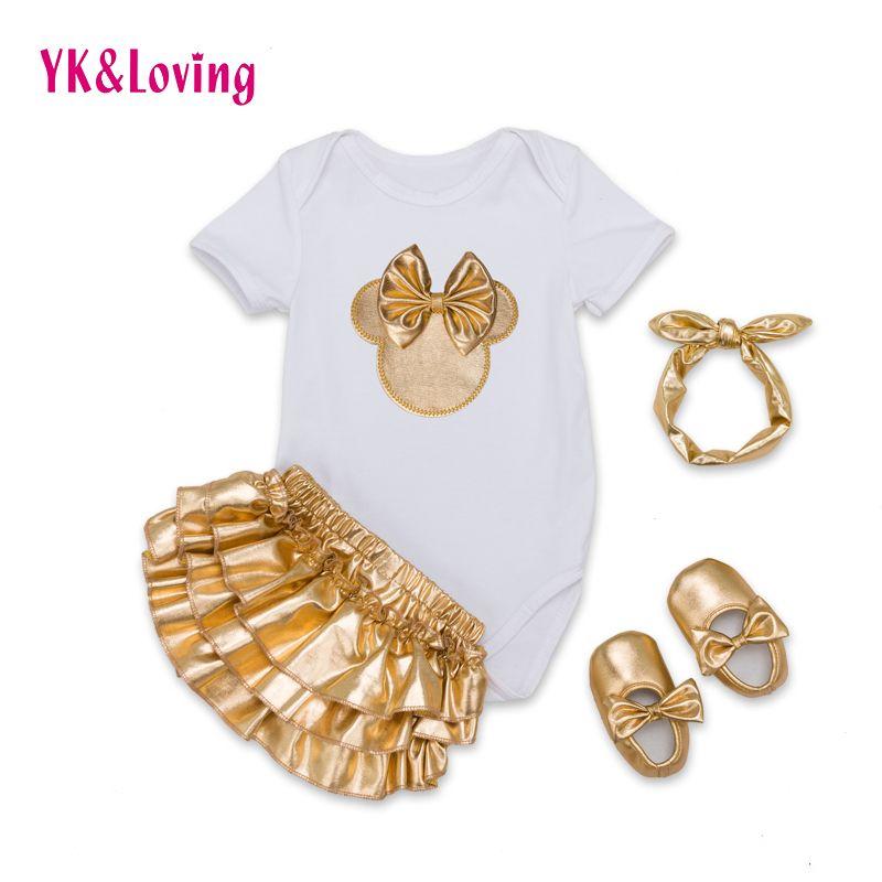 Bébé marque bébé vêtements ensembles coton bébé fille à manches courtes 4 pièces body + or volants Bloomers + bandeau + chaussures nouveau-né