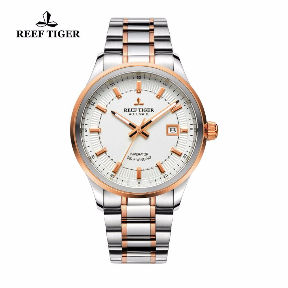 Reef Tiger/RT Watches Steel/Rose Gold Two Tone Business Dress Watch For Men Miyota 9015 Super Luminous Automatic Watches RGA8015