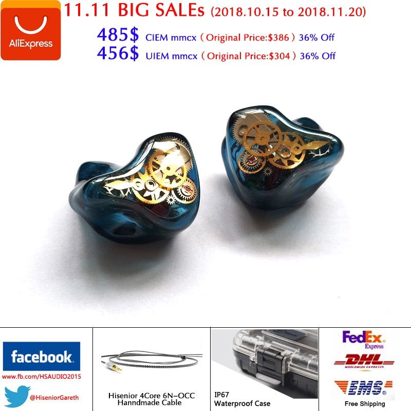 Hisenior T8 8/16Units Balanced Armature Drivers Custom Fit CIEMs Noise Cancelling In-ear Monitors Earphone DHL Free Shipping