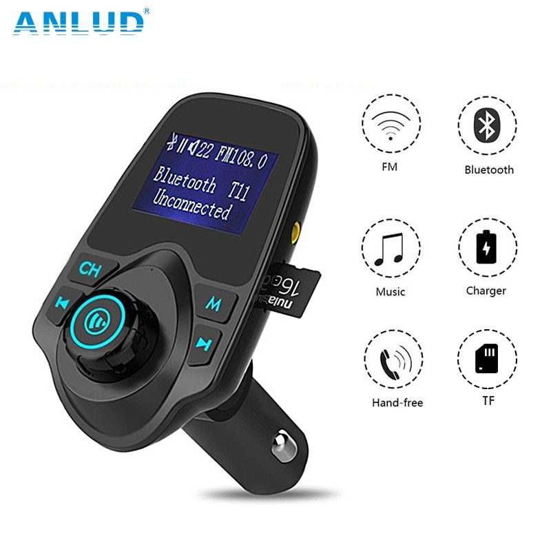 ANLUD Bluetooth Car Kit Handfree FM Transmitter Auto Bluetooth FM Transmitter T11 Dual USB Ladegerät A2DP Drahtlose Auto Mp3-player