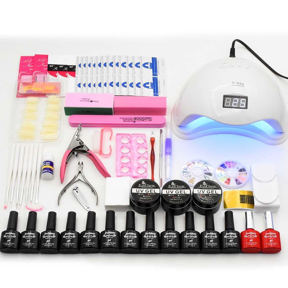 48W UV LED Lamp Nail Dryer Manicure Kit 12 Colors Nail Gel Polish Set Kit UV Builder Gel Varnish Nail Kit Art Tools Manicure Set