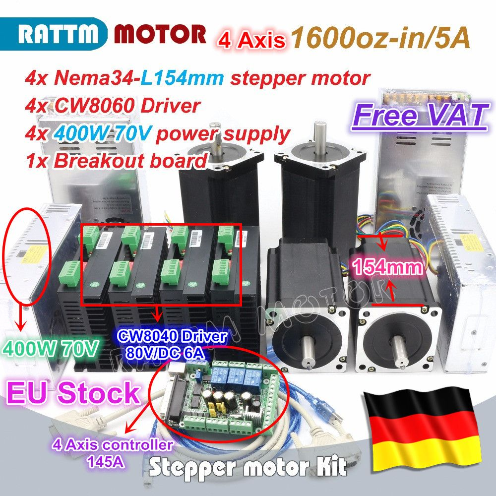 EU ship free VAT 4 Axis Nema34 Stepper Motor 1600oz-in 12N.m 154mm Dual Shaft+CW8060 Driver 80VDC 6A CNC Controller Kit