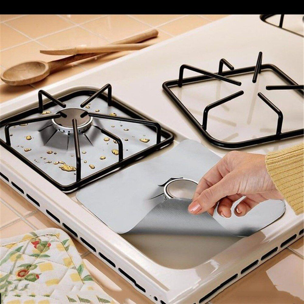 4 pcs/ensemble Verre fibre réchaud Protecteurs Réutilisables réchaud Brûleur Couvercle Doublure Tapis Pad outils de cuisine Fit Presque réchauds à gaz
