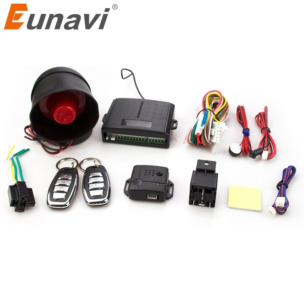 Eunavi 102 One Way Auto Car Alarm Systems & Central Door Locking Security Key with Remote Control Siren Sensor for Toyota