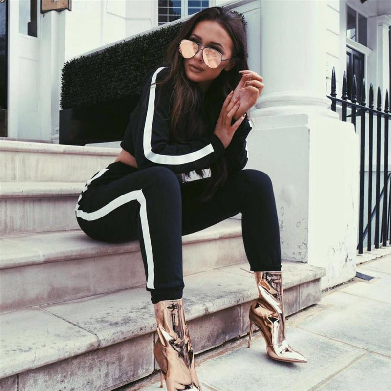 Women Tracksuit 2018 Fashion New Hooded Sweatshirt Crop Top and Pants Two Piece Set Female Track Suit Sportwear