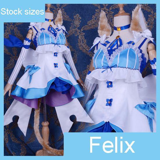 Anime Re:Life in a different world from zero Felix Argyle Cat Uniform Lolita dress cosplay costume fullset Maid dress halloween