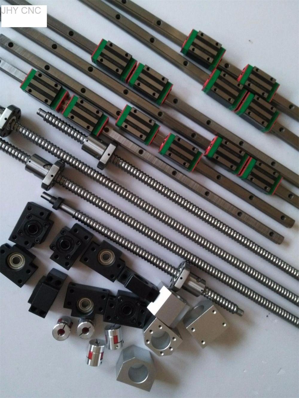 3 kits JHY linear rail profile guideway +4 ballscrews ball screws SFU type+4set BK/BF15+4ballut Housing + 4coupler