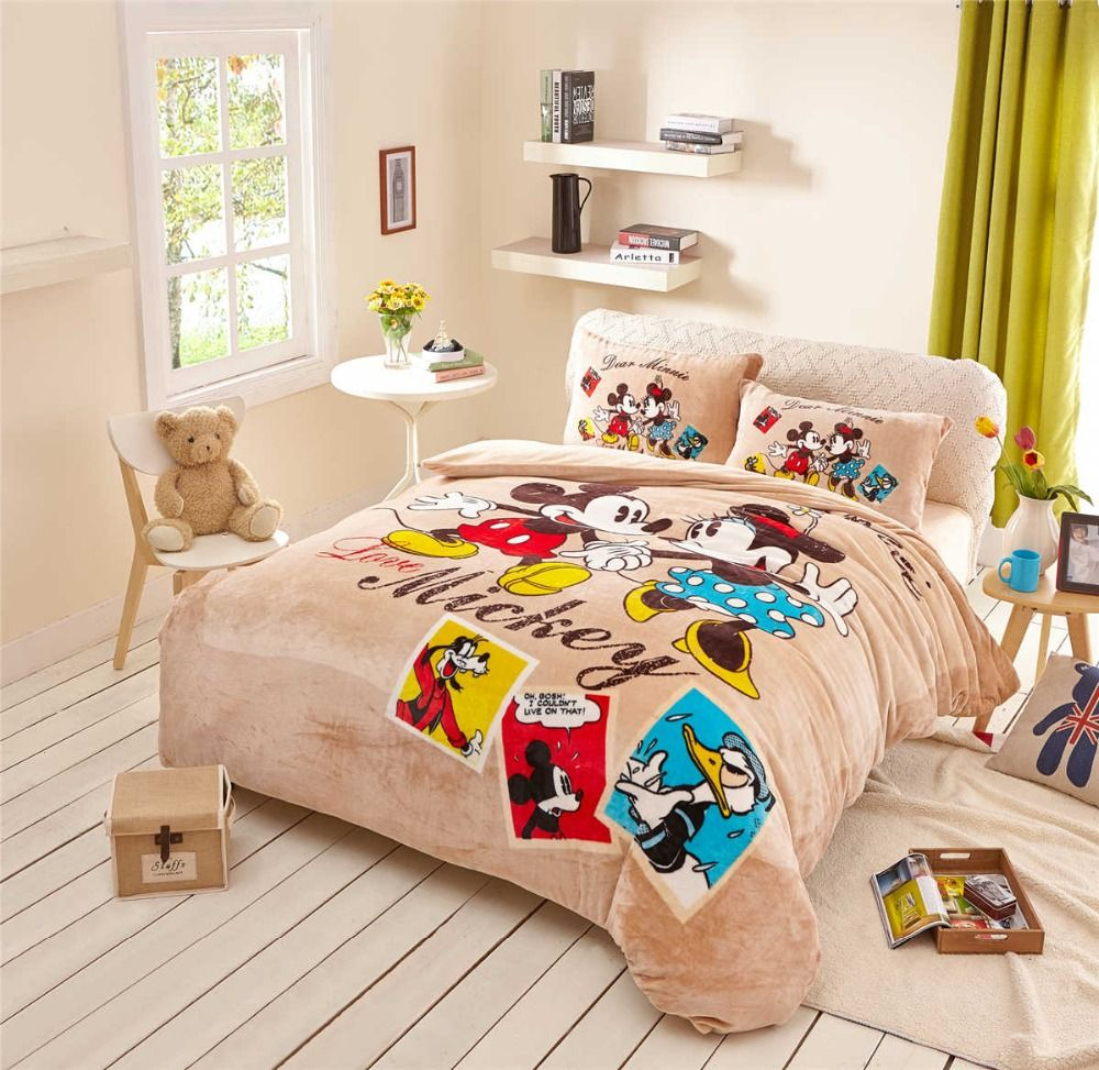 flannel fleece minnie mickey mouse comforter bedding set queen size quilt cover 3d twin full size bed linen soft smooth coverlet