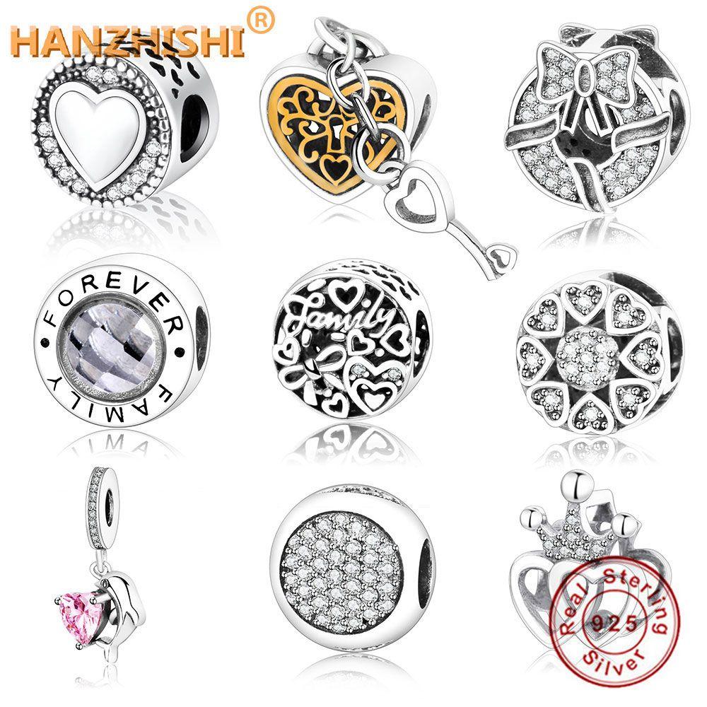 Nouvelle arrivée authentique 925 charme en argent Sterling Fit Original Pandora bracelet à breloques coeur en rond prix usine perle de bijoux à bricoler soi-même