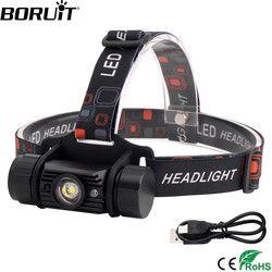 BORUiT RJ-020 3 Вт ИК сенсор светодиодный налобный фонарь USB зарядное устройство Головной фонарь 18650 батарея фонарик Водонепроницаемый Кемпинг Ох...
