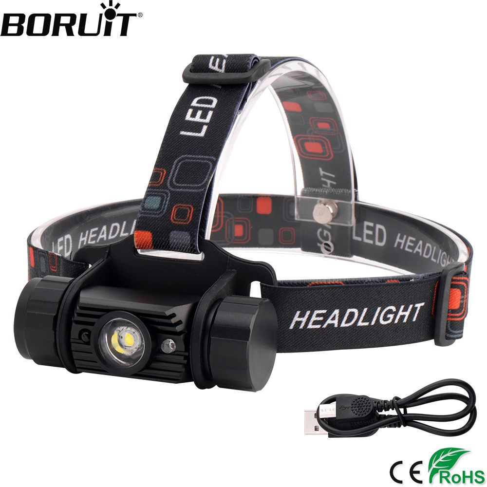 BORUiT T6 LED Induction Mini Headlamp 1000LM Motion Sensor Headlight 18650 Rechargeable Head Torch Camping Hunting Flashlight