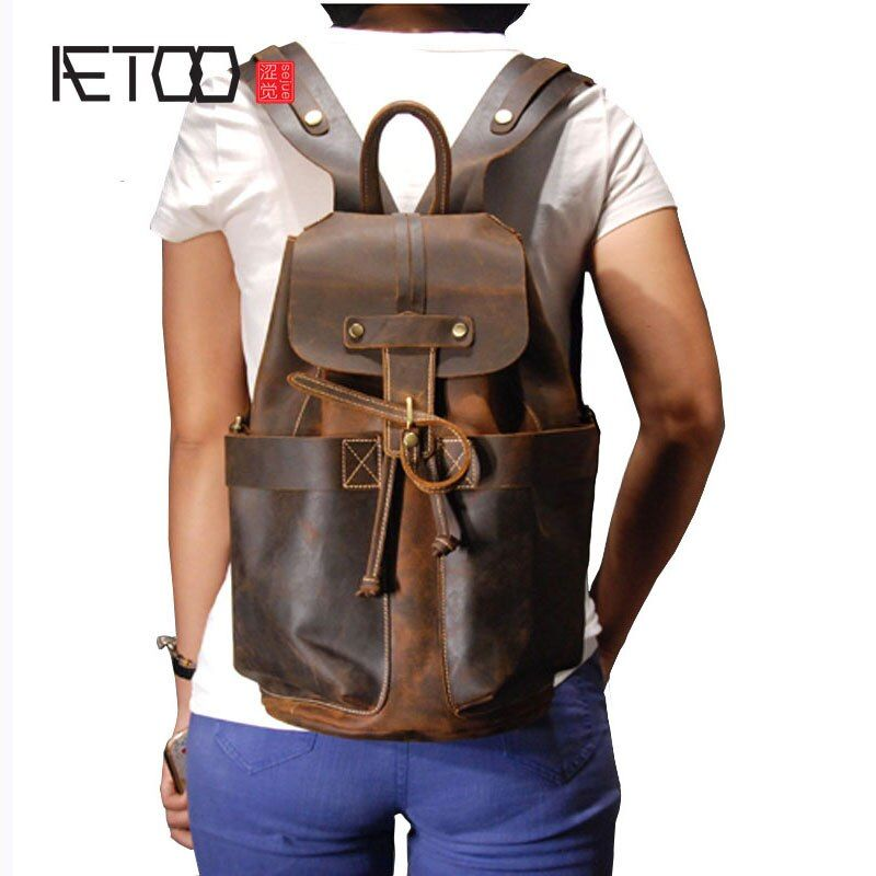 AETOO Personality part retro first layer crazy horse leather backpack travel cowhide men backpack male bag