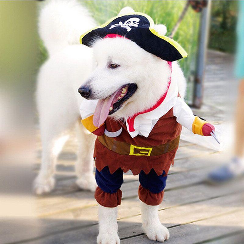 Drôle Chat Costume Pirate Costume Chat Vêtements Corsair Halloween Costume Chiot Costume Dressing Up Party Vêtements Pour Chat 25S1