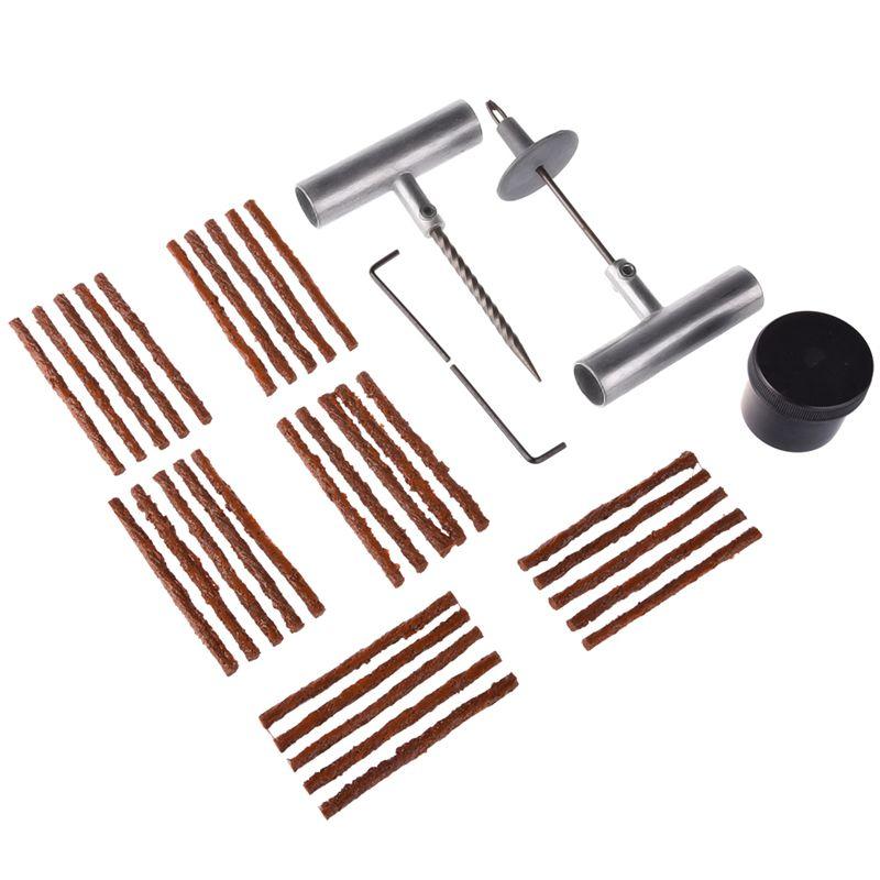 35 Pieces Auto Tire Repair Tool Kit T-handle Repair Insert Needle Glue Strip Lubricant