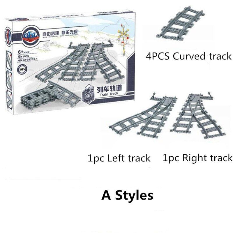 City Trains Technic Flexible Track Rail Straight Curved Rails Building Blocks Set for Kids Creative Educational Bricks Children