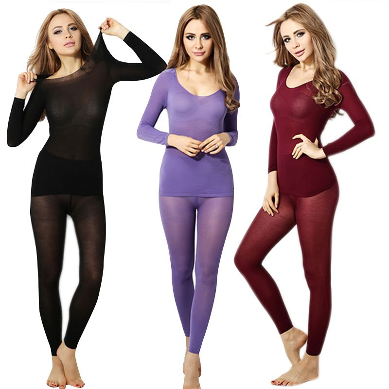 Winter Warm Women Slimming Thermal Underwear Ultrathin 37 Degree Heat Long Elastic Seamless Body Suit FS99