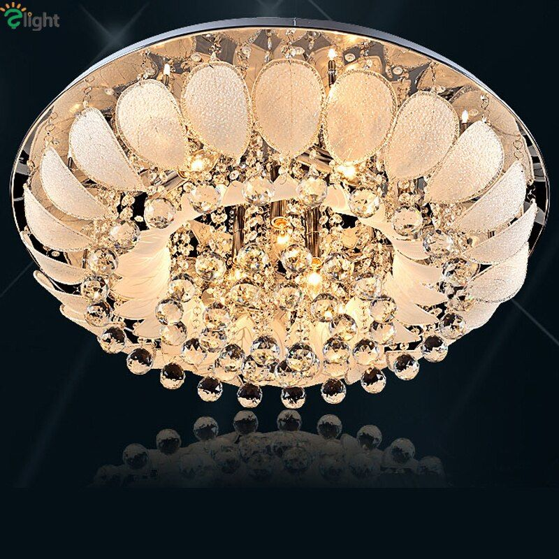 Remote Control Modern Foyer Round Led Ceiling Light Europe Luxury Lustre K9 Cristal Plate Chrome Glass Ceiling Lamp