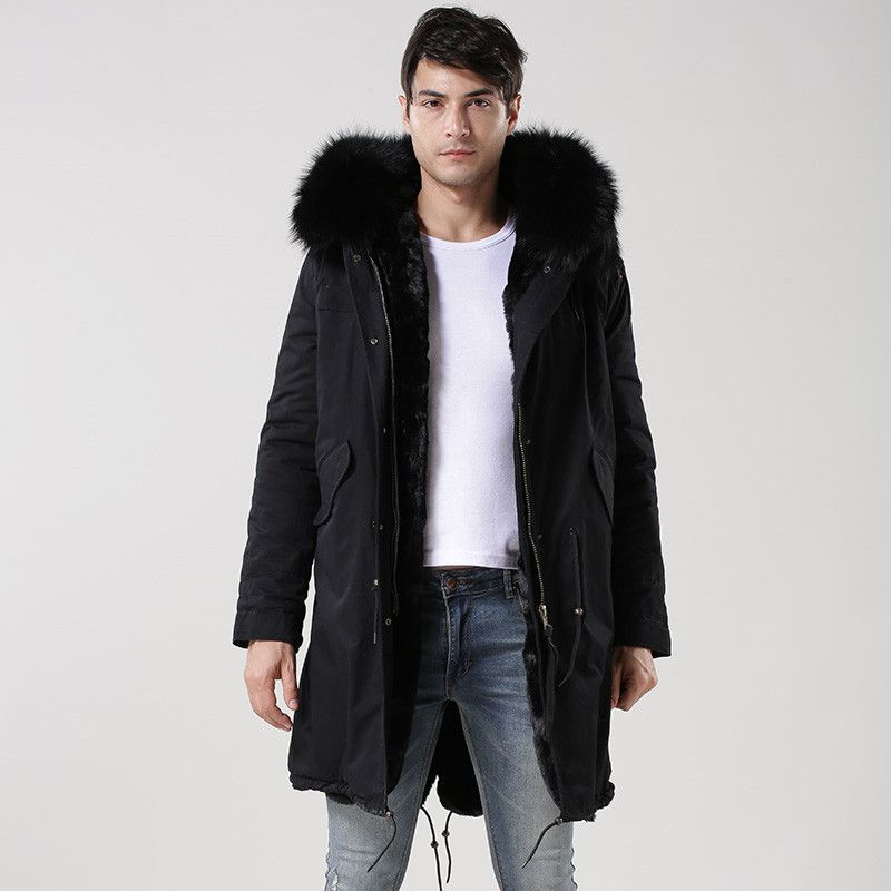 Casual fashion Italy design Mr raccoon hood fur long jacket, army green, dark blue, black fur lined furs parka