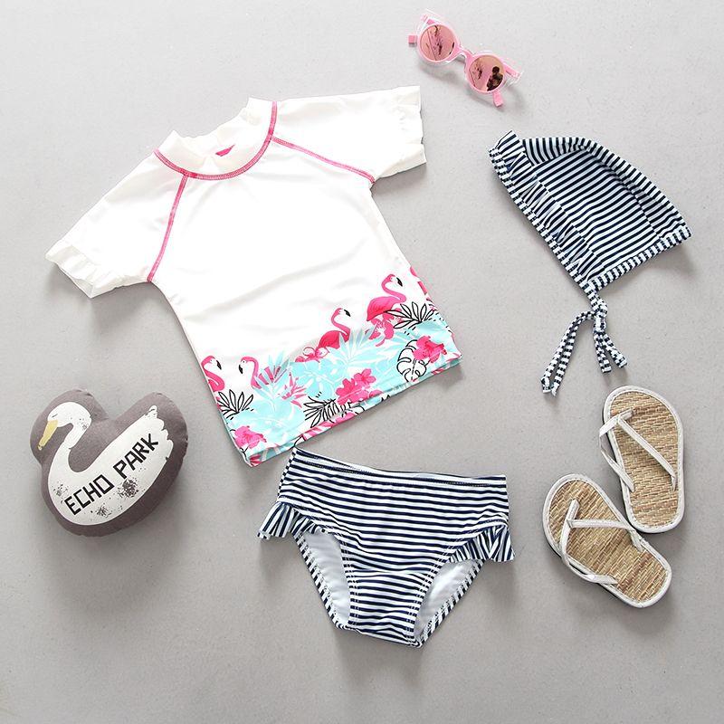 Baby Flamingo Bademode Mädchen 2 stücke Schwimmen Anzug Badeanzüge Cartoon Weiß Gestreiften Kleinkind Mädchen Kind Badeanzug 0-6 jahre