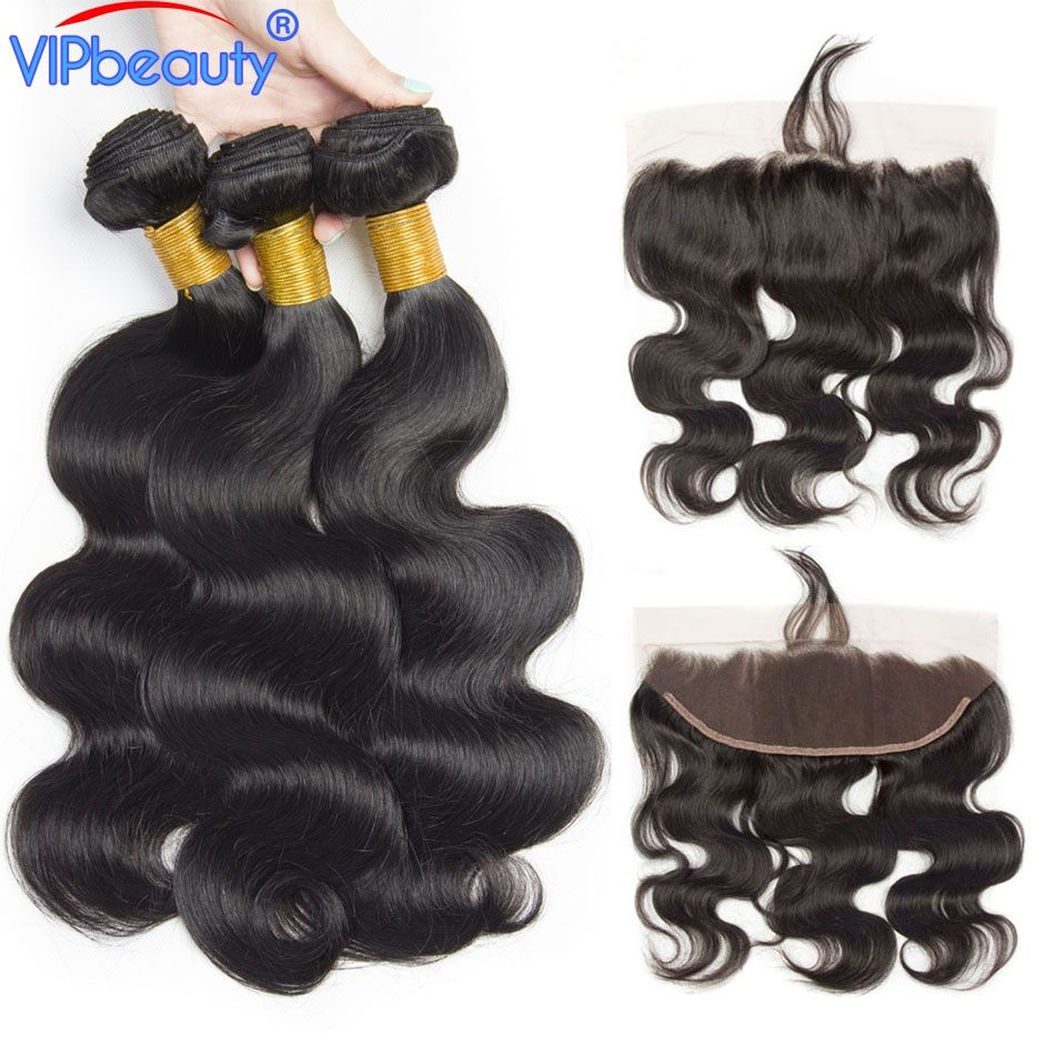 Vip beauty Malaysian Body Wave Non Remy Human Hair Bundles 4pcs/lot With Pre Plucked 13x4 Lace Frontal Closure With Bundles