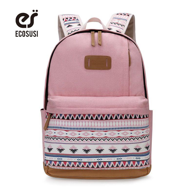 ECOSUSI Canvas Printing Backpack Women Cute School Backpacks for Teenage Girls Vintage Laptop Bag Rucksack Bagpack Female