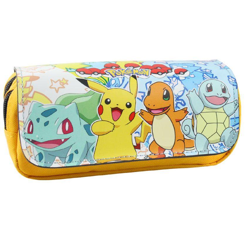 Dessin animé porte-crayon Pokemon Pikachu étui à crayons Boutique estuches fournitures scolaires estojo papeterie cadeau pochette à fermeture éclair sac