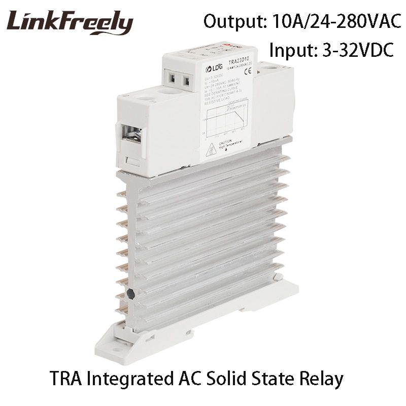 TRA-23D10M1 DIN Rail SSR Relay 3V 5V 12V 24VDC Input Intelligent Auto Integrated Solid State Relay 10A DC to AC With Heat Sink