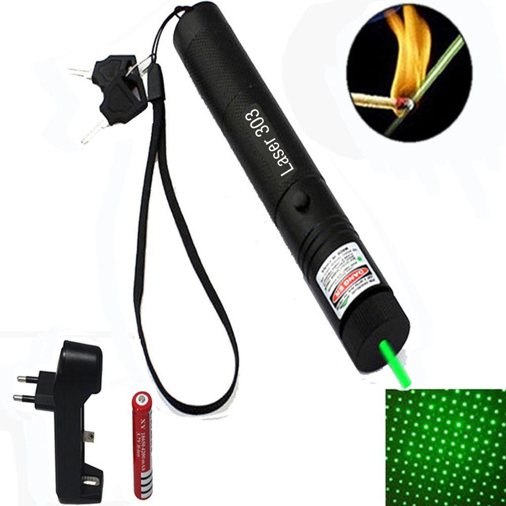 Chasse 10000 m 532nm Laser vert vue laser pointeur haute puissance laser de mise au point réglable avec Laser 303 + chargeur + 18650 batterie