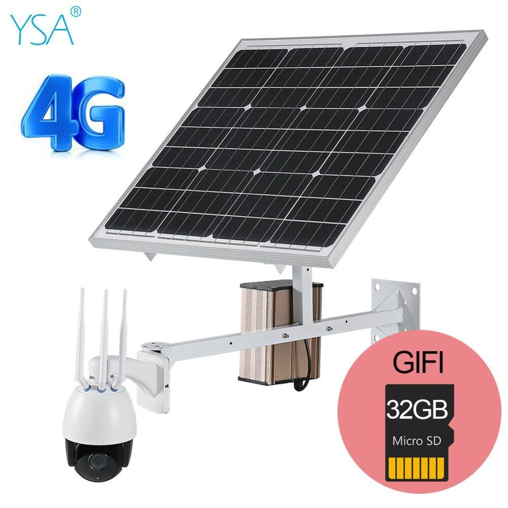 YSA 3G 4G Wireless PTZ Speed Dome Solar IP Kamera Outdoor 1080 P HD 5X Zoom CCTV Sicherheit 60 W Solar Panel Kostenloser Geben 32 GB TF Karte