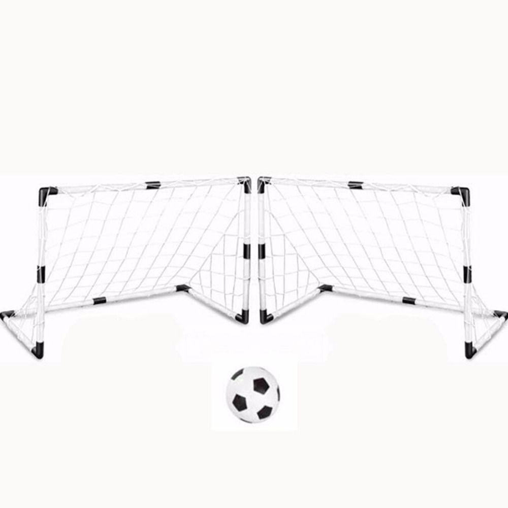2 Sets DIY Children Sports Soccer Goals with Soccer Ball and Pump <font><b>Practice</b></font> Scrimmage Game Football Gate DIY White